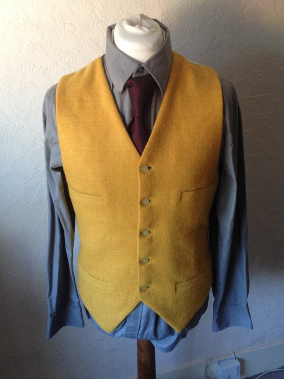 Yellow Harris Tweed Waistcoat Wedding Party Groomsmen Custom made Vest Best Man