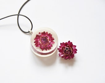 Dried Flower, Resin Necklace, Birthday Gift, Flower, Gift for Her, Resin Jewelry, Women Necklace, Real flower