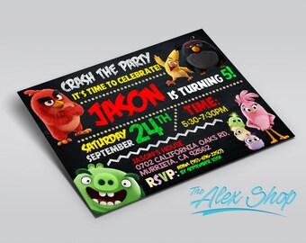 Angry Birds, Angry Birds invitation, Angry Birds birthday, Angry Birds birthday inivtation, Angry Birds party, birthday invitation