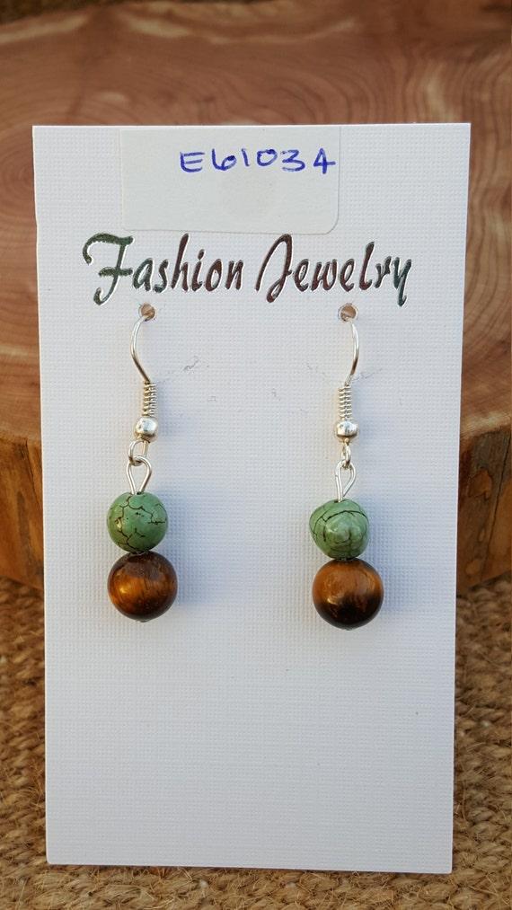 Brown Yellow Tigers Eye Stone Earrings / Brown and Green Petite Earrings / Dangle Earrings / Hippie Earrings / Boho Jewelry /E61034
