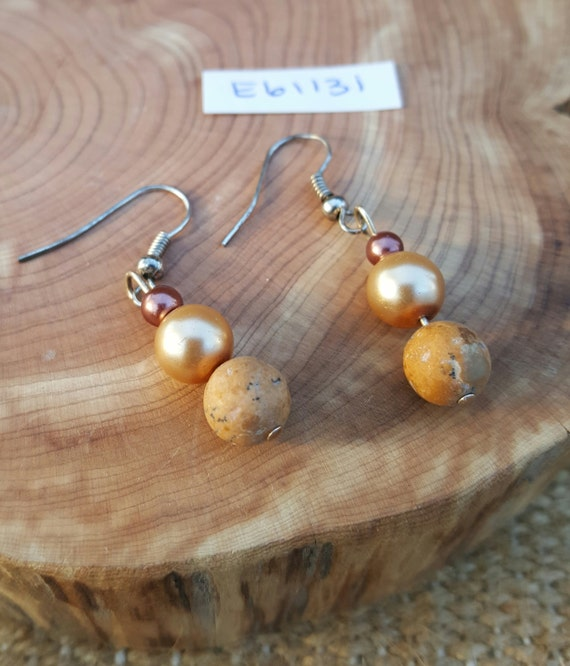 Tan Jasper Pearl Earrings / Jasper with Pearl Earrings / Dangle Earrings / Hippie Earrings / Boho Jewelry /E61131