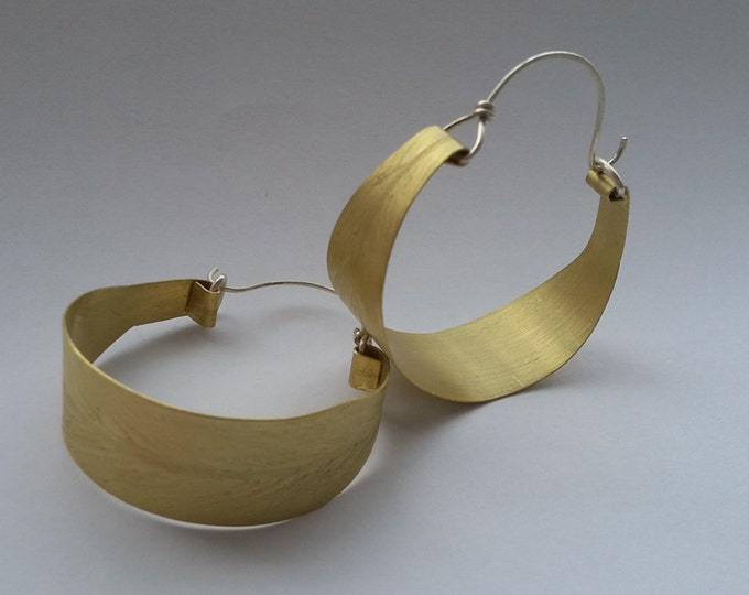 Mimbre Desert Willow large gypsy style brass and sterling hoop earrings
