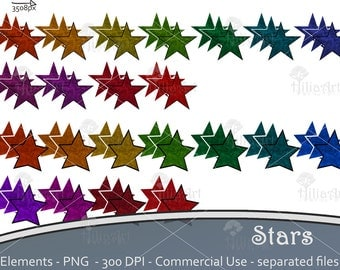 Stars, digital clipart, embellishment for scrapbooking, pages decoration, 66 stars