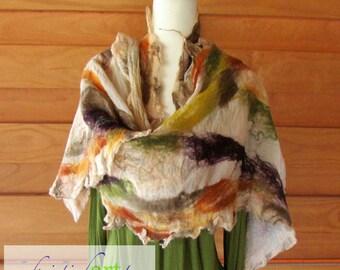 Autumn Silk Wrap / Wearable Art / Silk / Merino Wool / Handmade Nuno Felted / Green / Gold / Purple / Rust /Women's Gift Idea / Unique