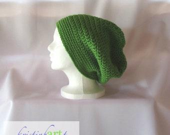 BOHO Slouchy Hat / Handmade Crochet / Women's Gift Idea / Men's Gift Idea / Green / Acrylic / Adult Size / Warm