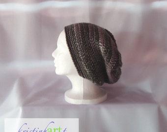 BOHO Slouchy Hat / Handmade Crochet / Women's Gift Idea / Men's Gift Idea / Black / Gray / Pink / Acrylic / Adult Size / Warm