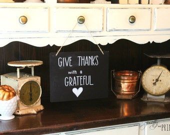 Give Thanks with a Grateful Heart Hanging Chalkboard