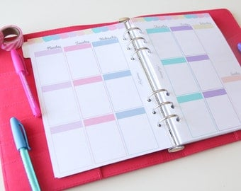 A5 PRINTED planner inserts - Week on two pages - Vertical - Erin Condren style