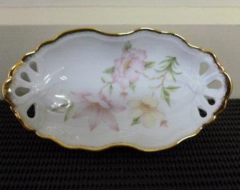 Vintage Fine China 22kGold Westminster Australia Serving Tray/Trinket Bowl/Jewellery Holder/Pin Dish Retro Kitchen