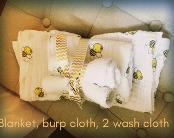 Blanket/Burp Cloth/Wash Cloth set