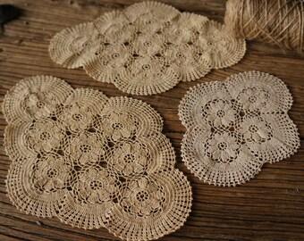 Vintage Crotchet Doilies, 3 Matching Coaster Doilies, Wedding doilies, Flower doilies, Granny's doilies, cotton crothet doilies, art