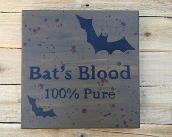 """Bat's Blood Halloween Wall Decor; Hand Painted; 10"""" by 10"""""""