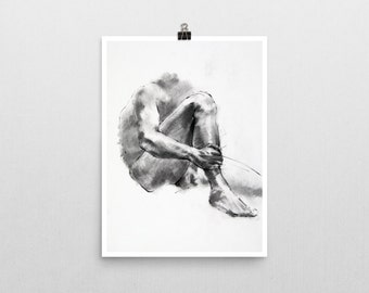 Seated Male, Charcoal Life Drawing Print