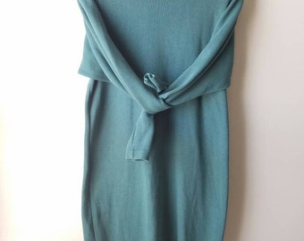 Vintage 80s / turtle neck / dress / minimal / dusty teal / hipster / body con / long sleeve