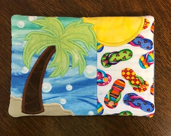 Quilted Embroidered Beach Scene Drink Coaster/Mug Rug