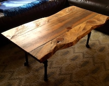 Live edge Coffee Table with Steel Pipe Legs