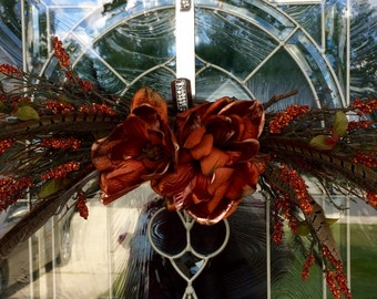 Elegant Rust Orange Floral Door Swag with feathers from The Chattanooga Wreath Company