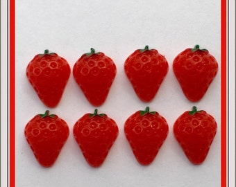 8 strawberry flatbacks, cabochon, resin, craft supplies, DIY, flat back, jewelry & beading, scrapbooking, fruit berry, red, girl hair bow