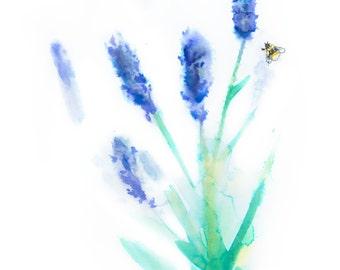Ink lavender flowers & bees