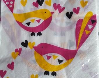 Pack of Paper Napkins,Party Napkins,Decoupage Technique,Decoupage Napkins,Craft,Art ,Napkin Motif,Birds,Pink & Yellow,Brand new ,33 x 33 cm