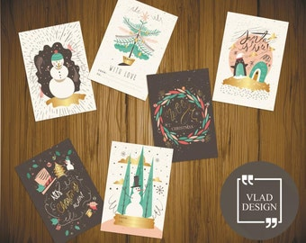 6 Hand drawn funny winter style cards A5 format Christmas cards DIY Printable cards Digital card New year card Congrats cards