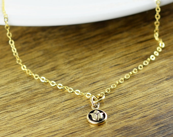 Lotus Necklace Gold Lotus flower Necklace Lotus charm Yoga Jewelry Lotus Jewelry Yoga Necklace Yoga Jewelry
