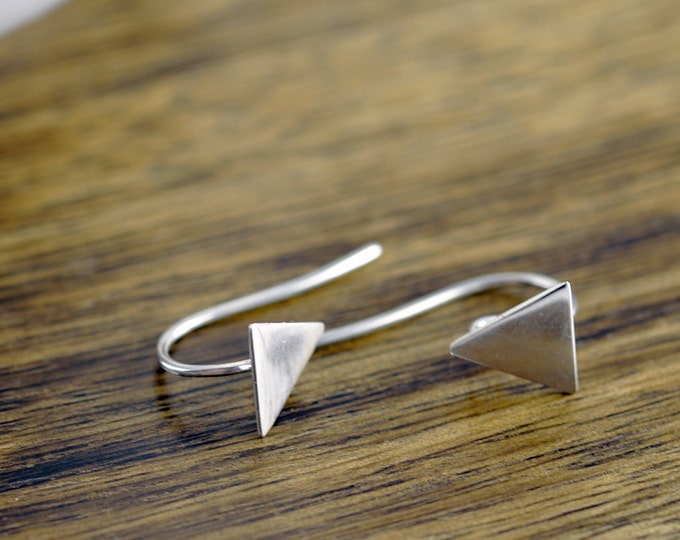 Silver Triangle Earrings, Earrings Dangle, Geometric Earrings, Silver Dangle Earrings, Triangle Dangle Earrings, Geometric Jewelry