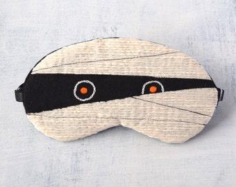 Mummy sleep mask/halloween siblings/adjustable belt/travel/kids/handmade/eye mask/