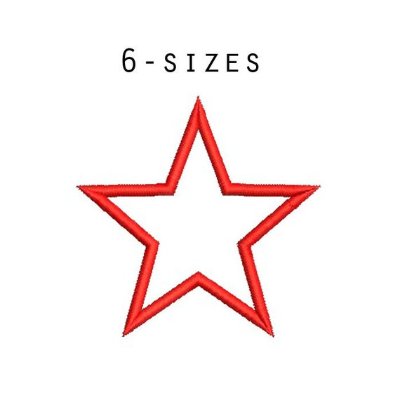 Sizes star applique design basic embroidery