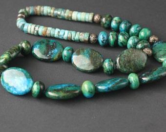 Chunky Turquoise Necklace Handmade Bohemian