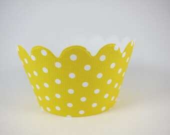 Baby Shower Yellow dot  cupcake wrappers,  birthday cupcake wrappers,  Party decoration,