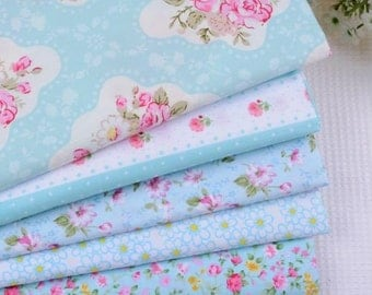 5 coupons fabric Quilt/sewing 40 x 50 cm Blue 1016 tones