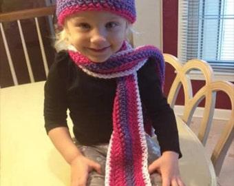 Toddler pink n purple crochet hat & scarf