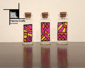 3 Hand-painted Glass Bottles - Henna Inspired Design