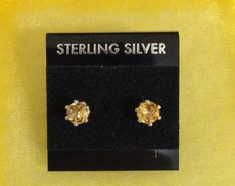 Citrine 4mm Gemstone and Sterling Silver Stud Earrings