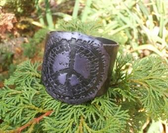 Polymer Clay Cuff Bracelet, Peace Sign Jewelry, Rock Chic Jewelry, Boho Jewelry