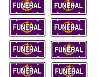 scale model funeral car license tag plates hearse