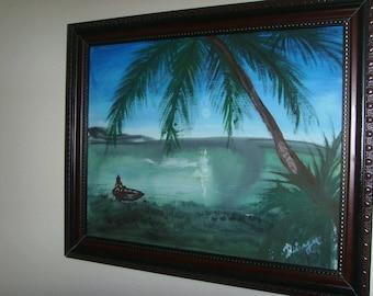 palm tree acrylic painting