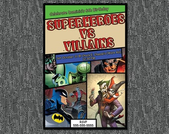 Super Heroes vs Villains Birthday Invitation