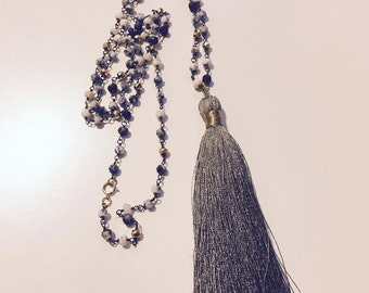 Bohemian Opal and Pyrite Tassel Necklace