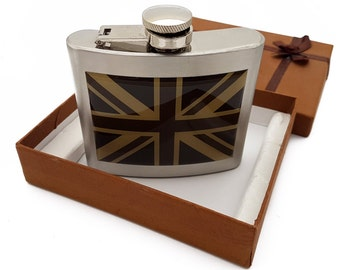 United Kingdom Union Jack Hip Flask in Stainless Steel with Brown Shades Flag