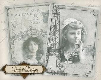 Vintage women ATC shabby finish vintage images hobby crafting printables digital graphics instant download digital collage sheet - VD0797