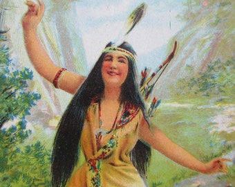Circa 1905 Vintage Lithograph Indian Maiden Picture