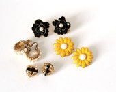 1980s earrings clip on collection . yellow daisy earrings, black flower earrings, black and gold clip earrings