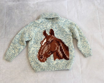kids vintage cowichan cardigan with a horse and horseshoe . childs cowichan horse sweater. kids knit cardigan