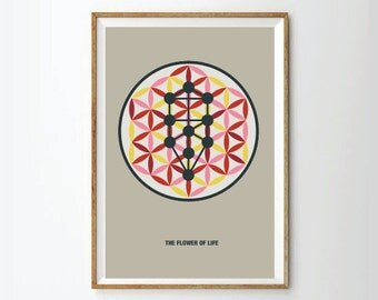 Abstract poster, Abstract Print, sephirot, flower of life, retro poster, Kabbalah,  geometric prints posters
