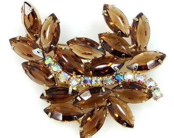 Juliana D & E Topaz Navettes with Aurora Borealis Stones Pin