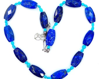 Lapis Lazuli, Turquoise & Sterling Silver Necklace