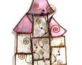 Fairy Tale Castle in Iridescent Clear Texture and Pink Stained Glass