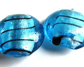 Pair of Blue and Black Foiled Lampwork Lentil Beads